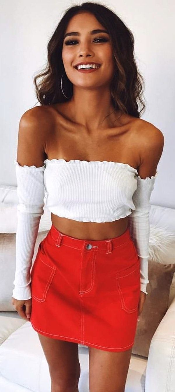 dd256484ae #winter #outfits white corduroy off-shoulder crop-top and red denim mini  skirt outfit. Pic by @showpo.