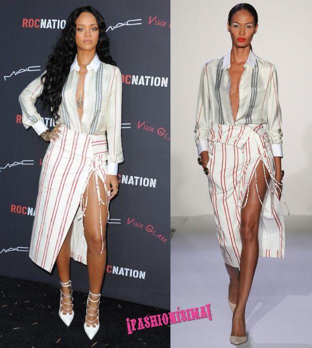 Los dos looks de Rihanna de fiesta previa a los Grammys