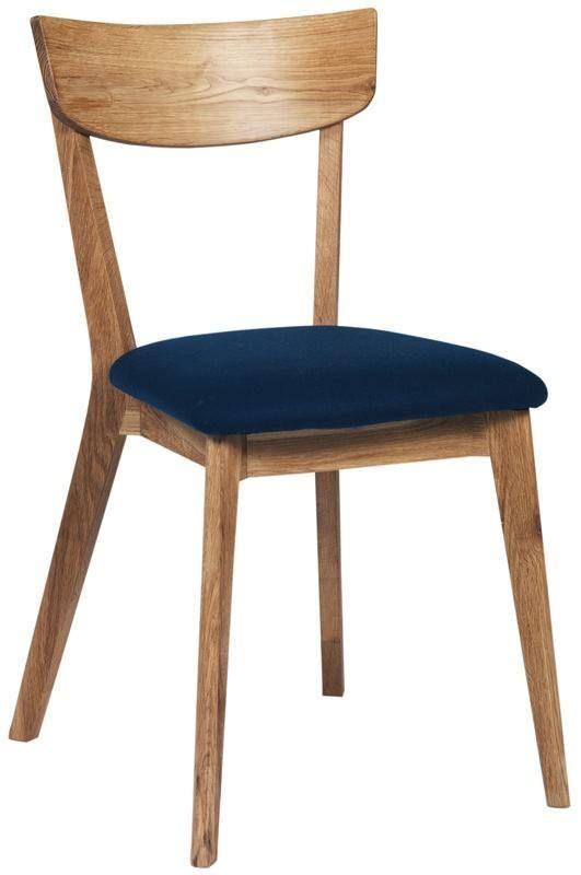 Lima Spisebordsstol - olieret eg m. Blåt sæde - Elegant spisebordsstol i nordisk look udført i olieret egetræ. Stolen har et filtsæde i en flot petroleum farve og en buet stoleryg for ekstra god komfort.