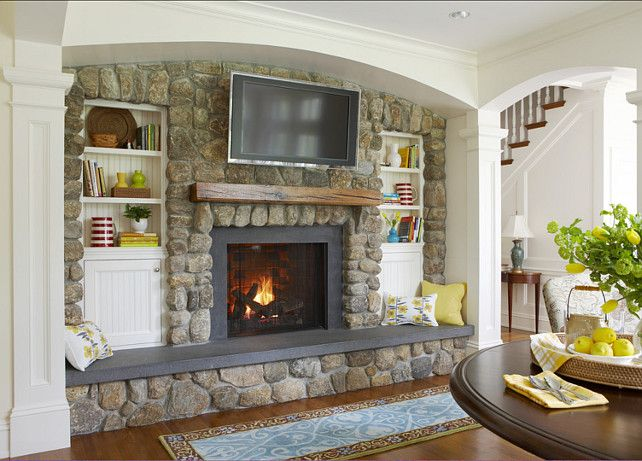 We Love This Stone Fireplace Design With A Flat Screen TV Mounted Over It