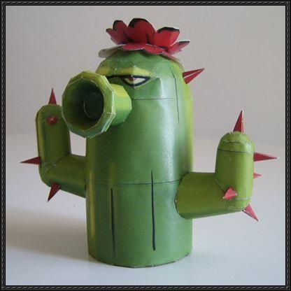 plants vs zombies crafts | Plants Vs. Zombies – Cactus Free Papercraft Download