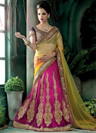 Blooming Yellow And Magenta Net Embroidery Work Lehenga Saree