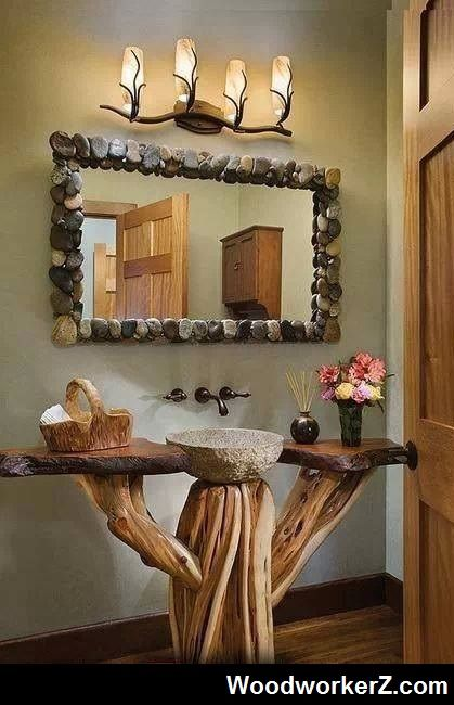 Cabin Bathroom Idea ... More Woodworking Projects on www.woodworkerz.com