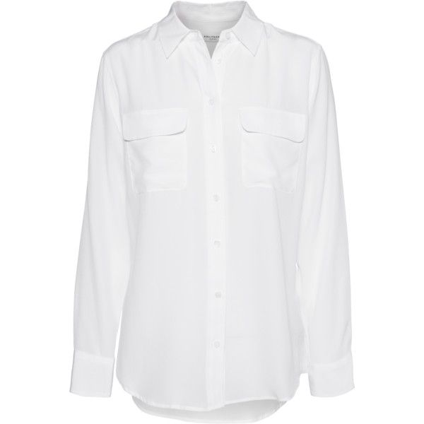 EQUIPMENT Slim Signature Bright White // Silk blouse with chest... found on Polyvore featuring tops, blouses, shirts, camisas, equipment blouse, silk shirt, slimming tops, slimming blouses and slim cut shirts