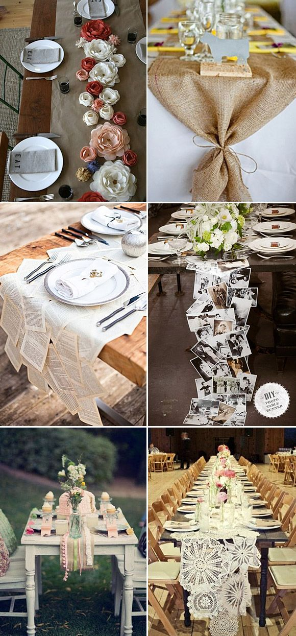 Caminos de mesa originales para decoración de bodas. DIY wedding table runners