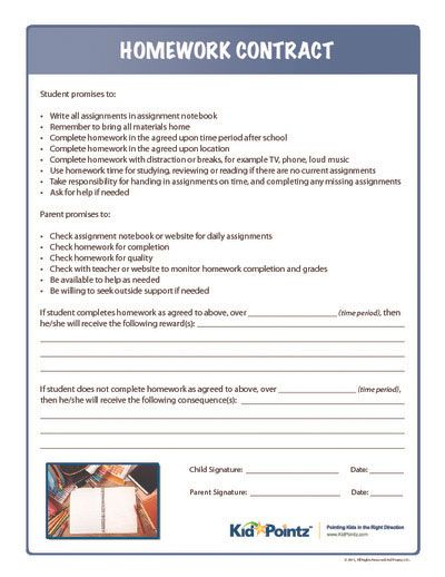 Best Homework Contract For Teens Images On   Behavior