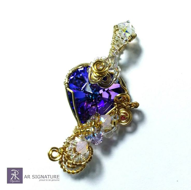Handmade pendant using 18k Gold plated wire and Genuine Swarovski Crystal  www.arsignature.com
