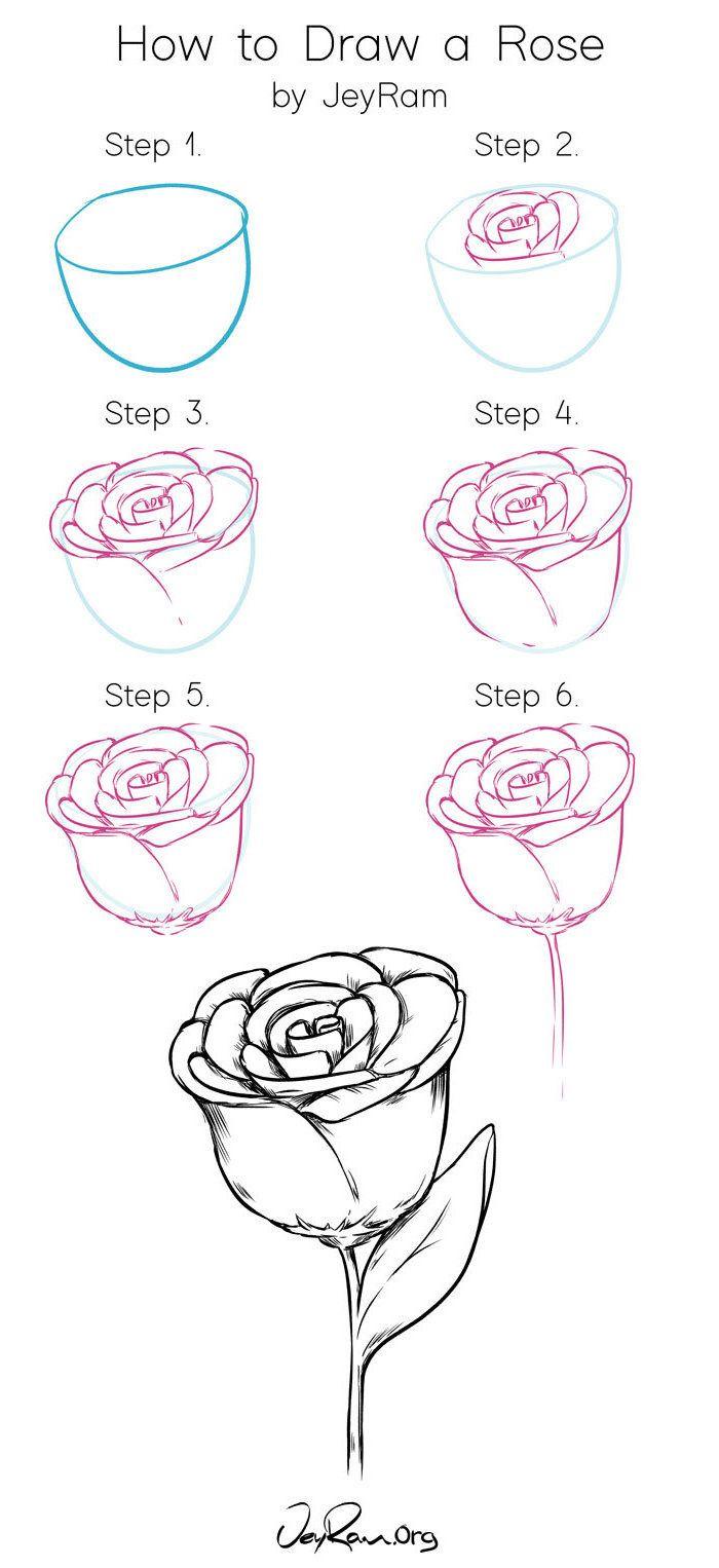 1001 Ideas Sobre Como Dibujar Una Rosa Paso A Paso Dibujos De Rosas Dibujo De Rosa Facil Flores Faciles De Dibujar