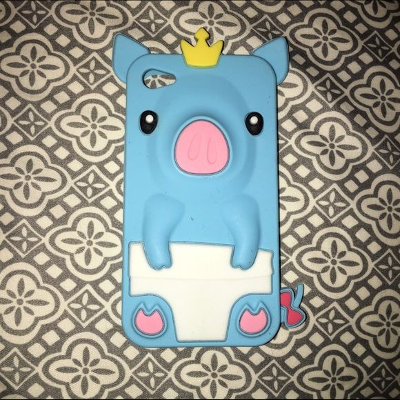 Animal Pig iPhone 4/4s Case Blue iPhone 4/4s Case. Hardly used. Great Condition. That little spot was there when I received it. It's not a big deal :) Other
