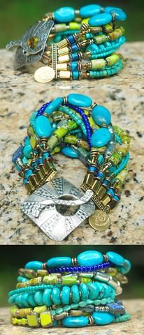 Captivating Turquoise, Cobalt, Lime and Mixed Metals Cuff Style Bracelet