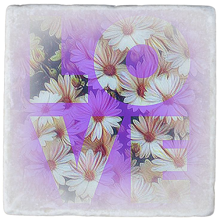 """This style of design has been hugely popular. It's a bit dated now but I've given it a fresh coat of paint. What an attractive marble coaster to add to your home decor. (How about a set of these on your dining room table!) Or maybe just a warm gift for family and friends. I'm sure the power word """"LOVE' carries a beautiful vibration within it."""