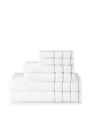 Espalma Heath 6-Piece Towel Set (White/Black)