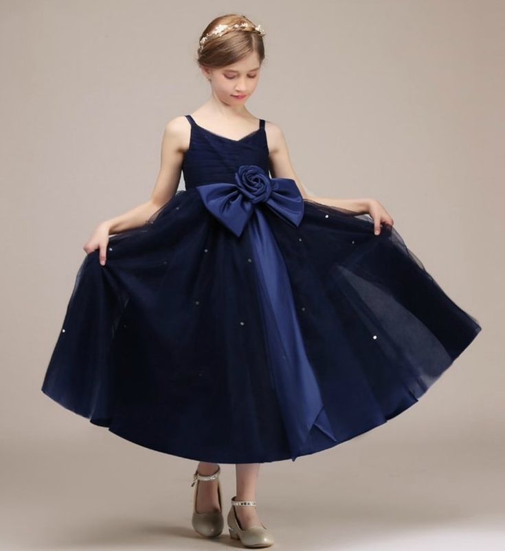 Flower Bow Dress-Made To Order - High Quality Simple & Beautiful Sweetheart Neckline Sleeveless Ankle Length Infant Toddler Little & Big Girl Tutu Dress With Large Flower Bow Sash Belt. Available from 3 -16 years. Material: Tulle mesh & cotton. Color: Dark Blue. Please do compare your  little girl measurements with our size chart below or you may leave a note your little girl's height, bust and waist measurements so we can process it and send you the right size.