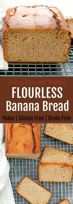 Flourless Banana Bread. This easy blender recipe is gluten free, grain free and paleo.