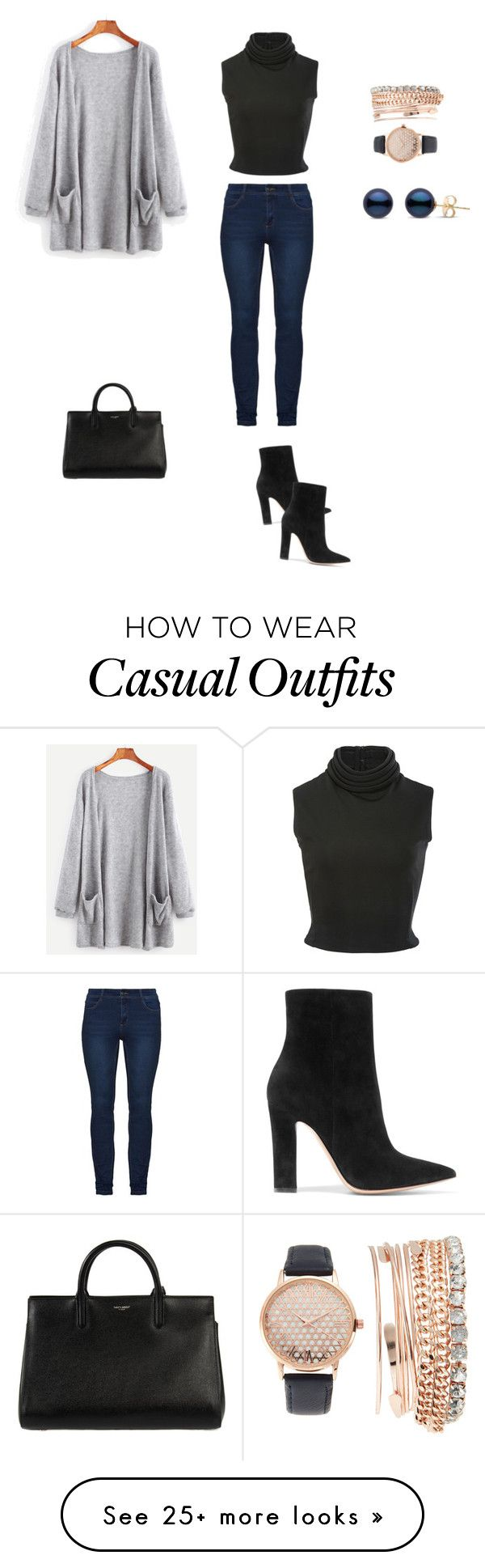 """casual -dressy outfit"" by mrashui on Polyvore featuring Gianvito Rossi, Brandon Maxwell, Yves Saint Laurent and Jessica Carlyle"