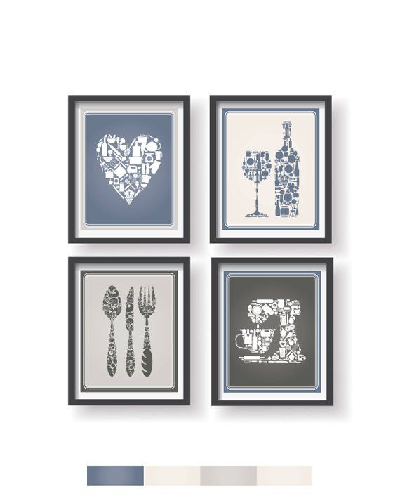 Blue Gray Kitchen Wall Art Kitchen Wall Decor Kitchen Decor