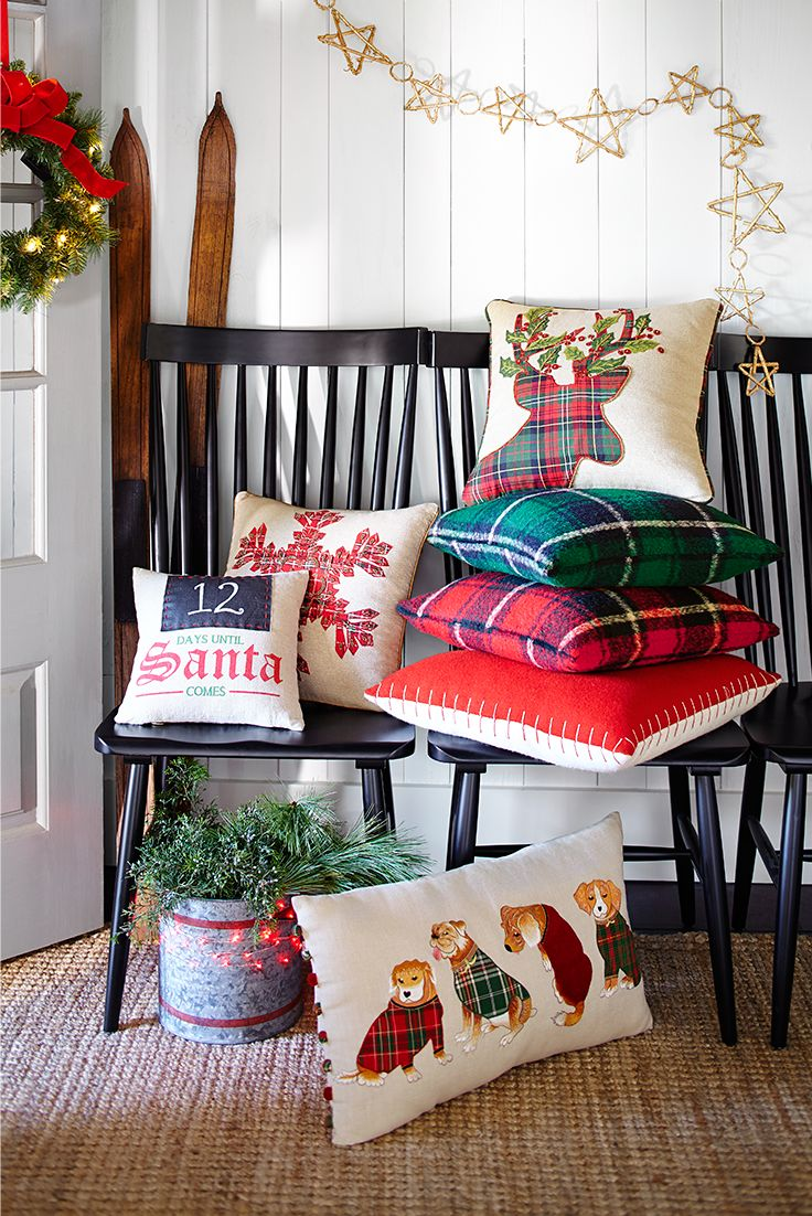 Scattering around a few cheery Christmas pillows is one of the easiest ways to make your home festive in a flash. To encourage holiday mixing and mingling, let Pier 1's selection of more than 100 decorative holiday pillows mix and mingle atop sofas and chairs. And save a few for sugarplum dreams in the bedroom. It's the cushiest part of decorating for the season.