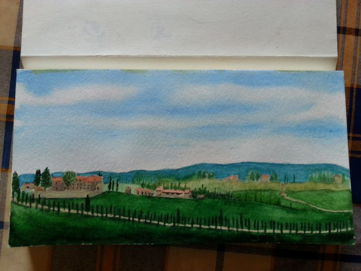 View of Tuscany by Gayner Vlastou in watercolour