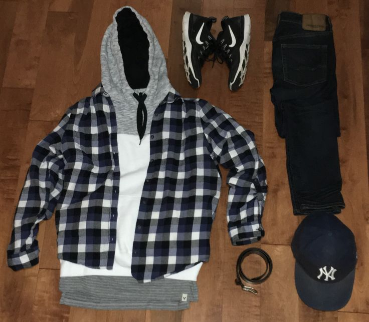 Hat: New Era Yankees Hat Belt: American Eagle Leather Belt Jeans: American Eagle Skinny Jean Shoes: Nike Free Train Versatility Top Layer Shirt: ??? Middle Layer Hoodie: Hollister Colour-Block Half Zip Hoodie Bottom Layer Shirt: American Eagle Elongated Long Sleeve