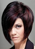 miniature picture formal bob hairstyle with bangs to the side and brown highlights on black hair, image number 111