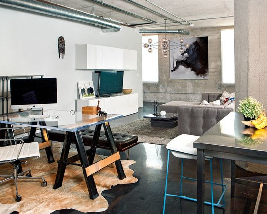Industrial Apartment | Masculine Home | Contemporary Lighting | Sawhorse Desk | Home Office | Workspace Ideas | Interior Design