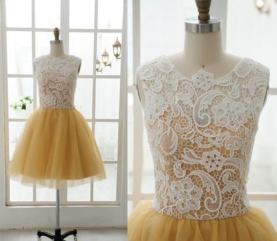 Short White Lace Net Dark Golden  Wedding Dress by lovingbridal, $98.00  So pretty! A little longer and in a different color and its perf.