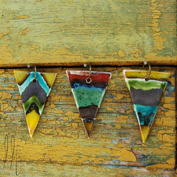 Geometric ceramic triangle pendant with long chain, long necklace with chevron and line pattern