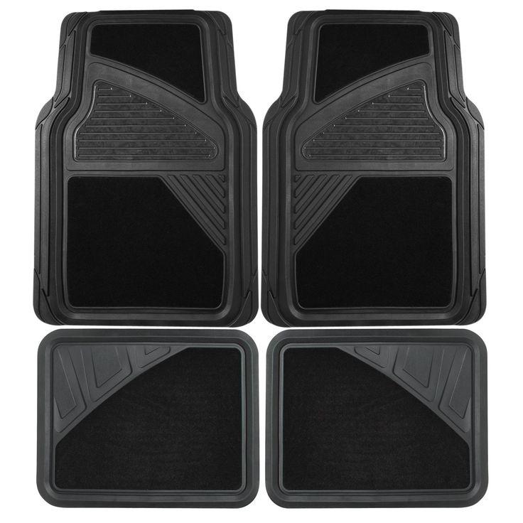 Floor Mats Car Black Heavy Duty 4 Pc Rubber Carpet Universal Floor Mats For Cars