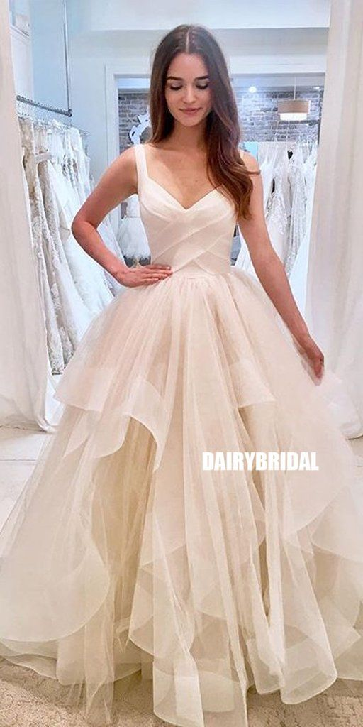 Sincere A-line Organza Backless V-neck Wedding ceremony Attire, FC2688