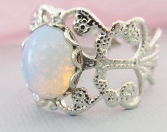 Opal Rings White Pinfire Glass Opal Silver by PinkingEdgeDesigns