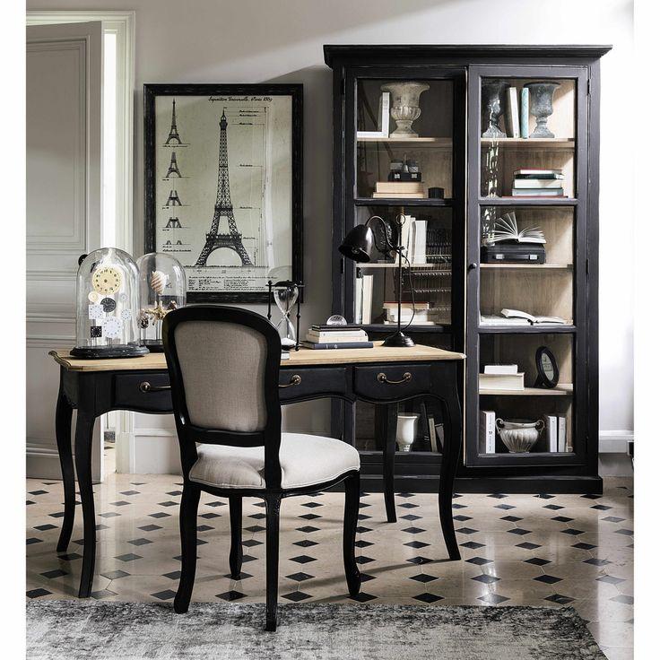 Vitrine en manguier noire mat L 135 cm Diderot | Maisons du Monde