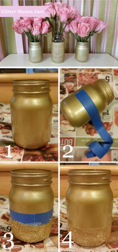 How to make glitter mason jars. Pink and gold. Wedding centerpiece. Bridal shower.