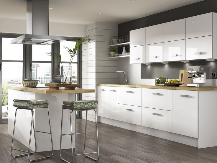 White Kitchen With Wooden Worktops