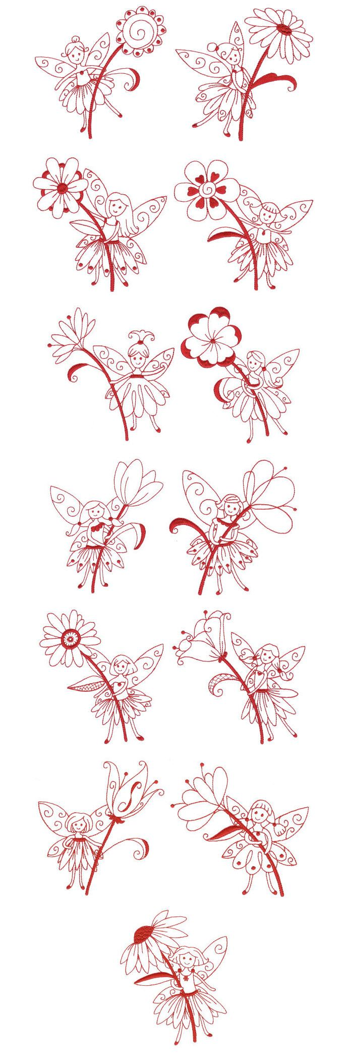 Embroidery | Free Machine Embroidery Designs | Fanciful Fairies Redwork