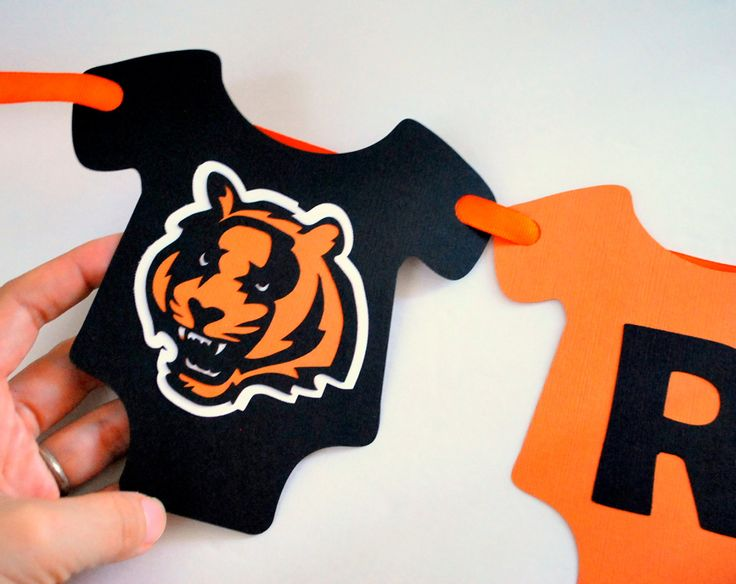 New to Mariapalito on Etsy: Sport Baby Shower Banner Baby Bodysuit Diecut banner Football Banner Cincinnati Bengals party banner A865 (26.00 USD)