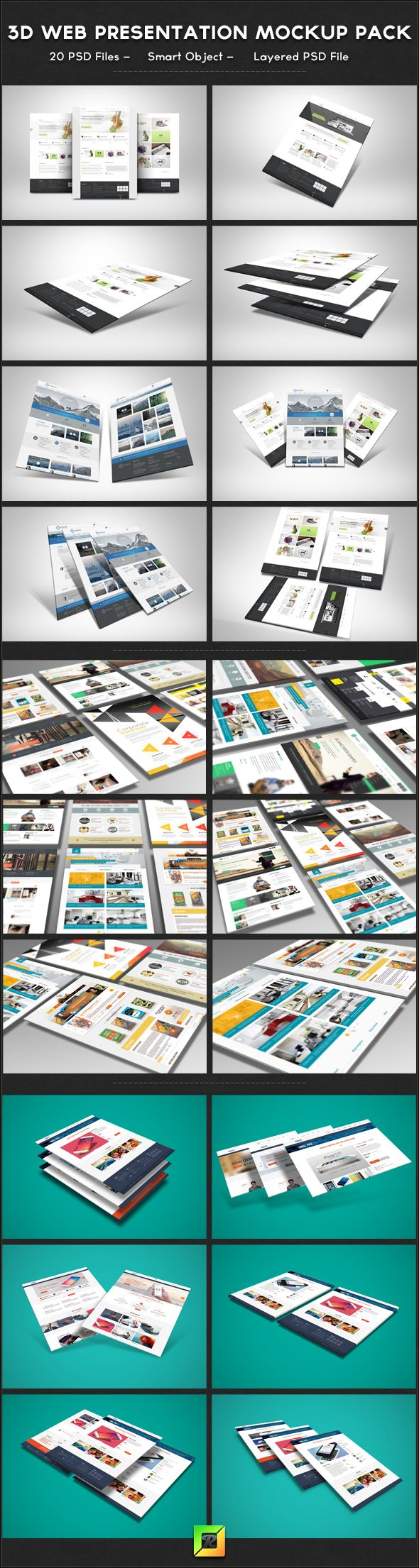 3D Web Presentation Mockup Bundle Project features:  20 PSD Files Pixel Dimension: 3000×2000 Smart Object To Edit (files help included) High Resolution: 300 DPI Layered PSD Files You can Change the Background Color Images used not included in Zip File