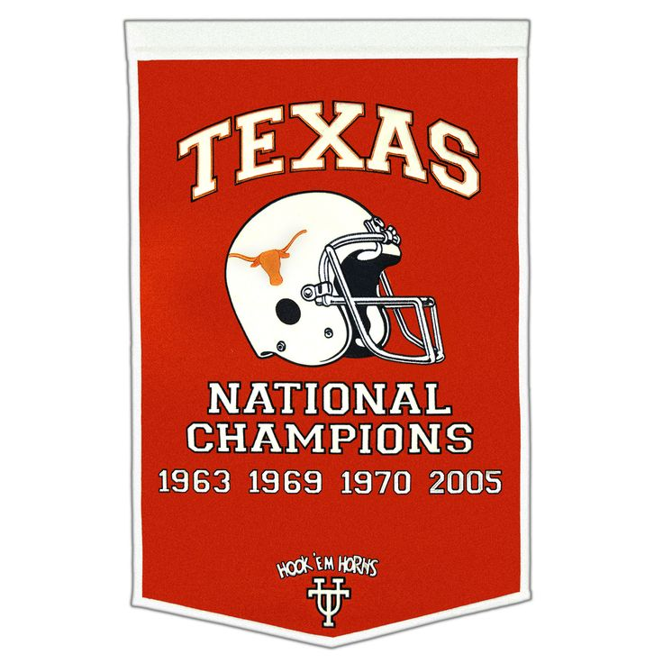 """This beautifully embroidered 24"""" x 38"""" """"Dynasty"""" banner commemorates the National Championships that Texas has won in men's football. Each banner is made from wool and is decorated with embroidery and applique. A """"Must-Have"""" for Texas mega-fans."""
