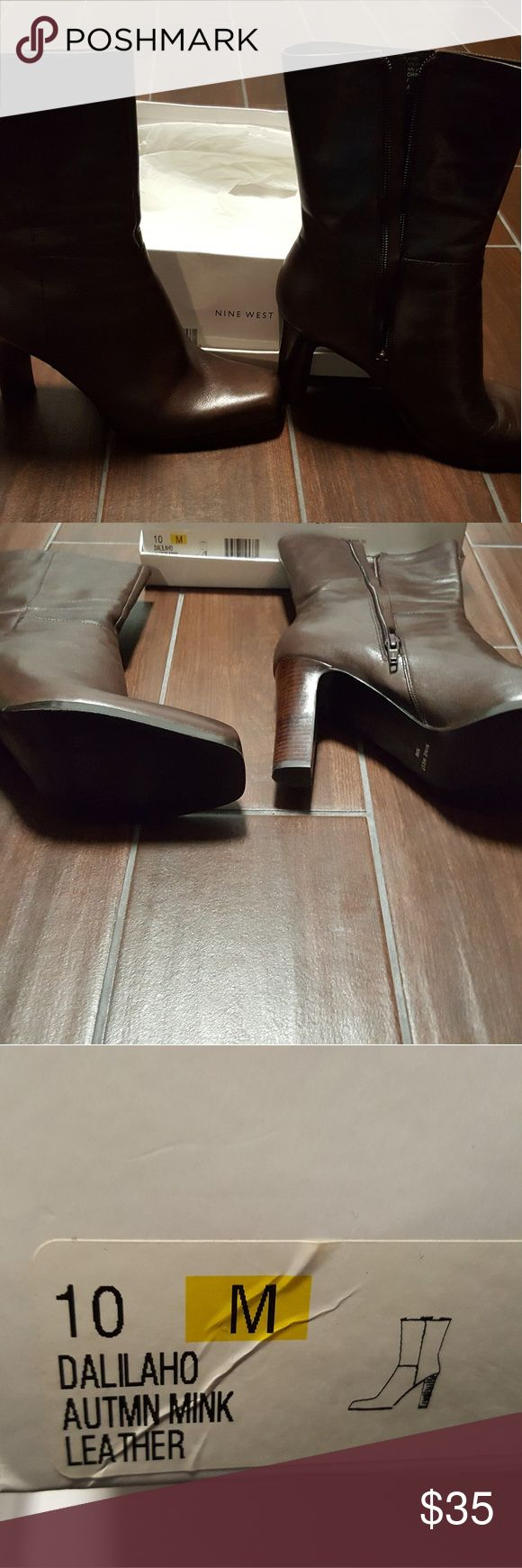 Nine West boots Nine West autumn mink leather boots. 3 inch heel. Excellent condition. Size 10. Nine West Shoes Heeled Boots