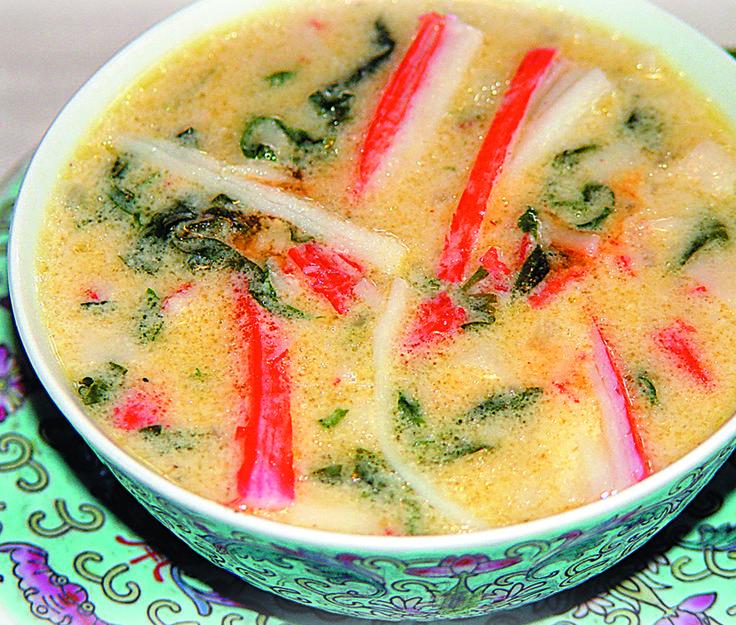 Sopa de Cangrejo y Espinacas