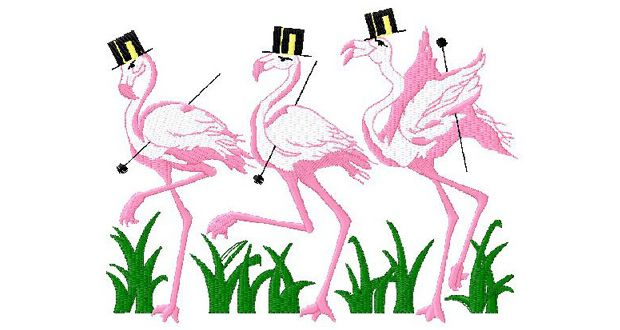 Flamingos Embroidery Design 060 | Download Free Machine Embroidery Designs
