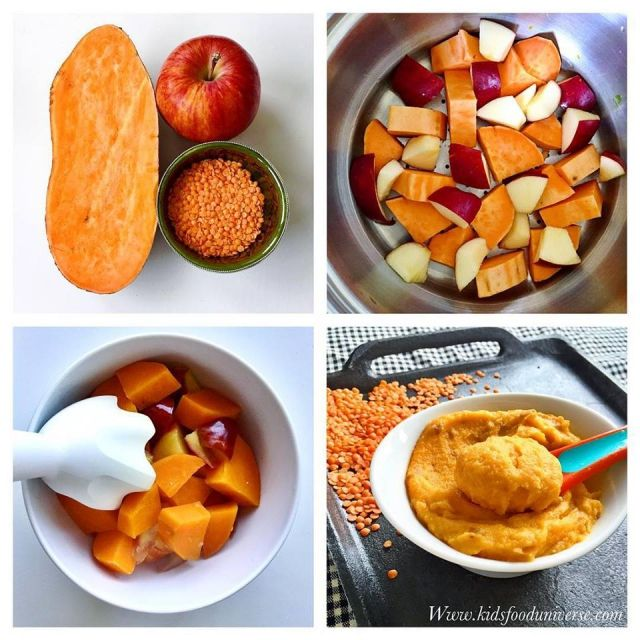 Apple, red lentils & sweet potato baby food purée suitable from 6 months