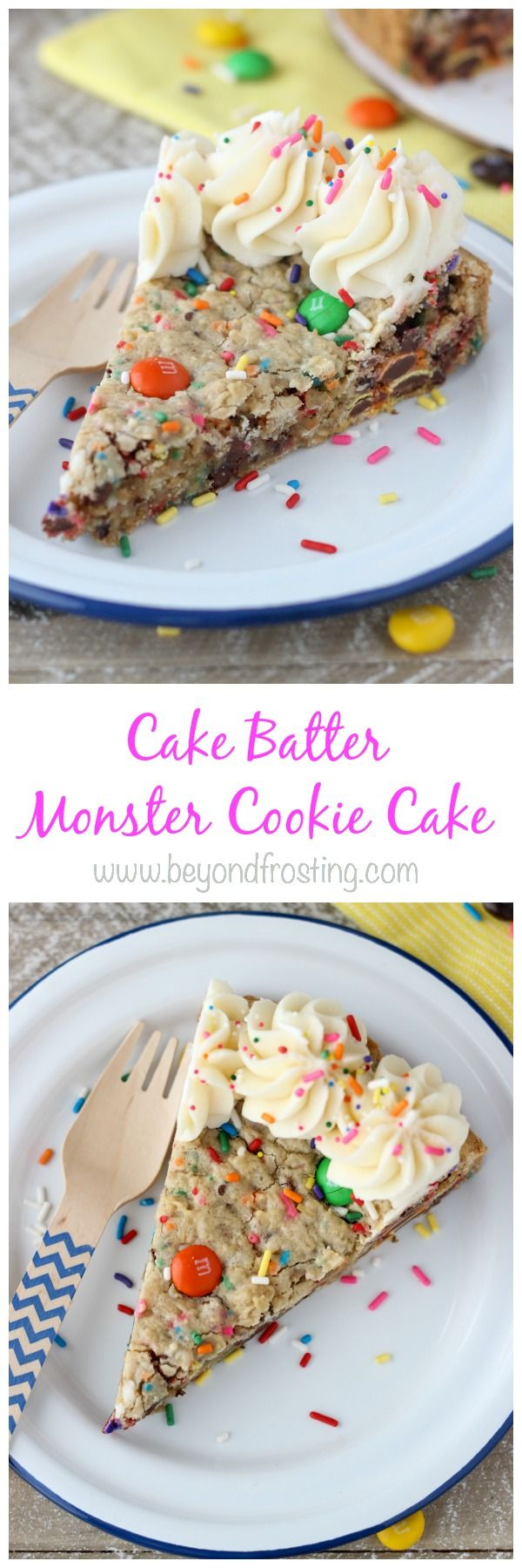 """""""Grab a fork and sink your teeth into this CAKE BATTER MONSTER COOKIE CAKE. is an cake batter oatmeal cookie with MnMs and sprinkles. It's topped with a little vanilla buttercream."""
