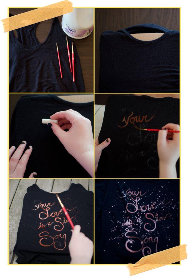 Shirt design using bleach - Diy Bleach Dye Tank Top Or Whatever Else You Want To Do