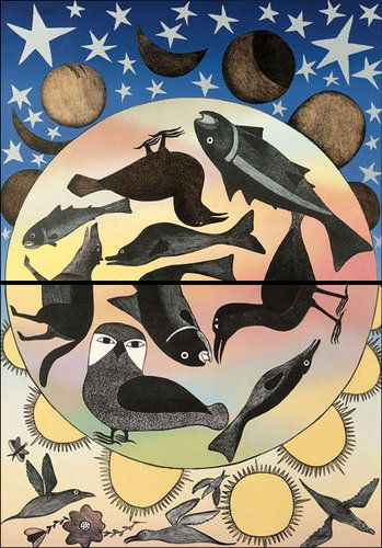 Our Environment, Our Land (1999) by Kenojuak Ashevak, Inuit artist