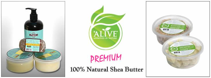 """Be Alive® Beauty products includes an assortment of skin care distributed by Trade Pillar International. Our products, Grade 'A' Ivory color, are 100% organic and sourced directly from Ghana, West Africa. Shea butter, which we refer to as """"raw gold"""" has long been known for its ability to transform skin and for its medicinal properties. -Product of Ghana"""