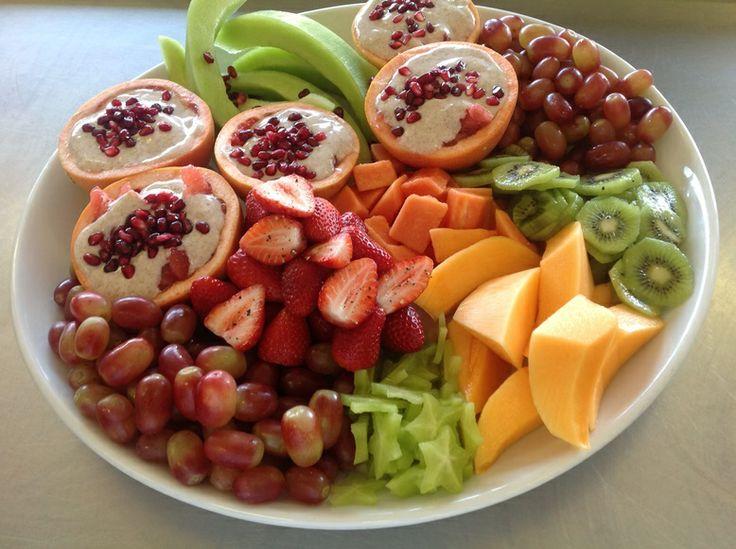 Seasonal fruit platter includes grapefruit with yoghurt and cinnamon