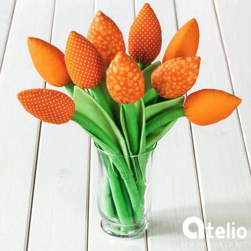 Bawełniane tulipany. Autor: Pracownia Mi. Do kupienia w atelio.pl | #atelio #decorations #tulipany #tulips #oragne #pomarańczowe