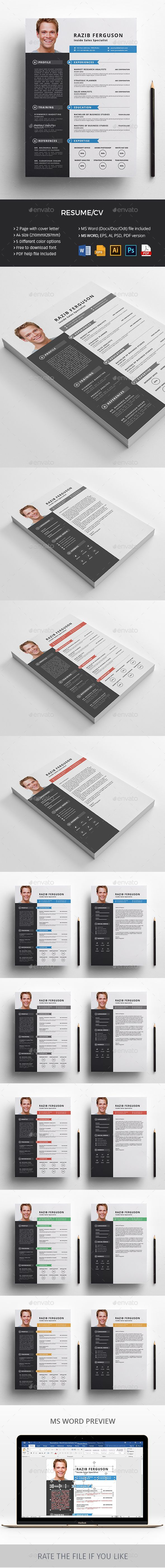 Resume Resume template design belongs MS WORD, AI, EPS, PSD, PDF versions. MS Word version also contains docx, doc, odt format. Which is easy to customize and 100% print ready. The design of Resume template is very much easy to edit. We also have added a userguide in downloaded file for how you can edit the deign in various format.