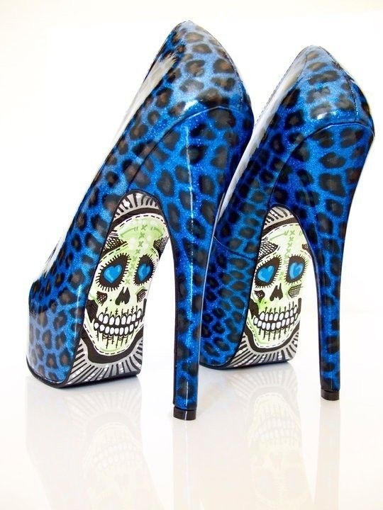Sexy. Cute. Skull. Leopard.: Shoes, Fashion, Style, Blue, Leopards Prints, Animal Prints, Skull Heels, High Heels, Taylors