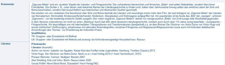 "Seminar ""'Zigeuner'-Bilder"" an der Universität Köln - hier ein Textauszug Seminarbeschreibung!"